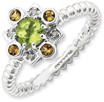 Sterling Silver Stackable Fashion Ring Peridot, Citrine & Diamond Stones, QSK857 on shopstyle.com