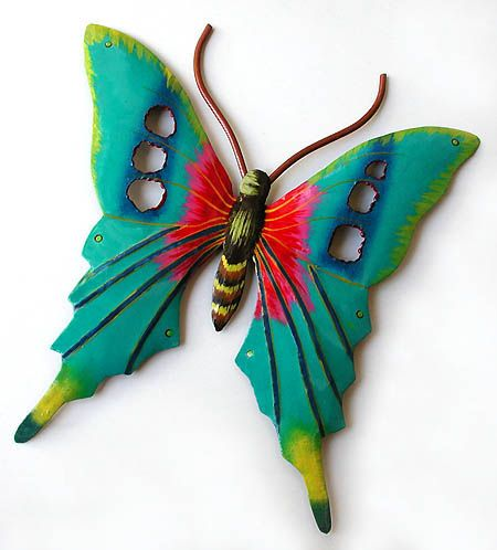 Hand Painted Metal Butterfly Wall Art   Outdoor Garden Decor   X