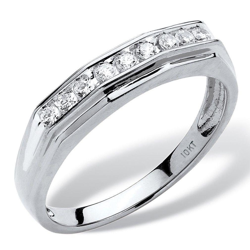 10k white gold mens 14ct tdw round channelset diamond