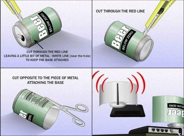 Viver fora do campus com alguns amigos? Obter um sinal Wi-Fi melhor do seu roteador com esta cerveja pode enganar. | 36 Life Hacks Every College Student Should Know