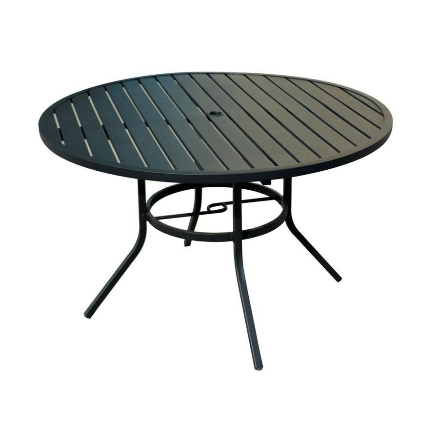 Garden Treasures Pelham Bay 48 In W X 48 In L Round Steel Dining Table Steel Dining Table Round Patio Table Round Outdoor Dining Table
