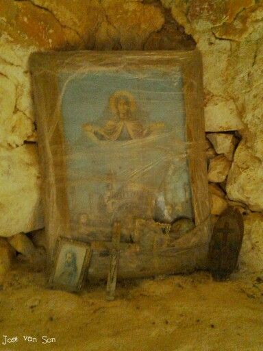 Patina: dusty picture in abondoned Greek church