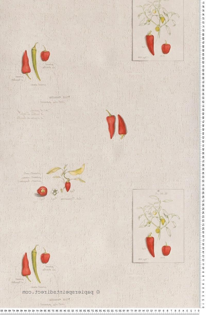 Piment rouge papier peint aquamura de lut ce cuisine - Papier peint lutece cuisine ...