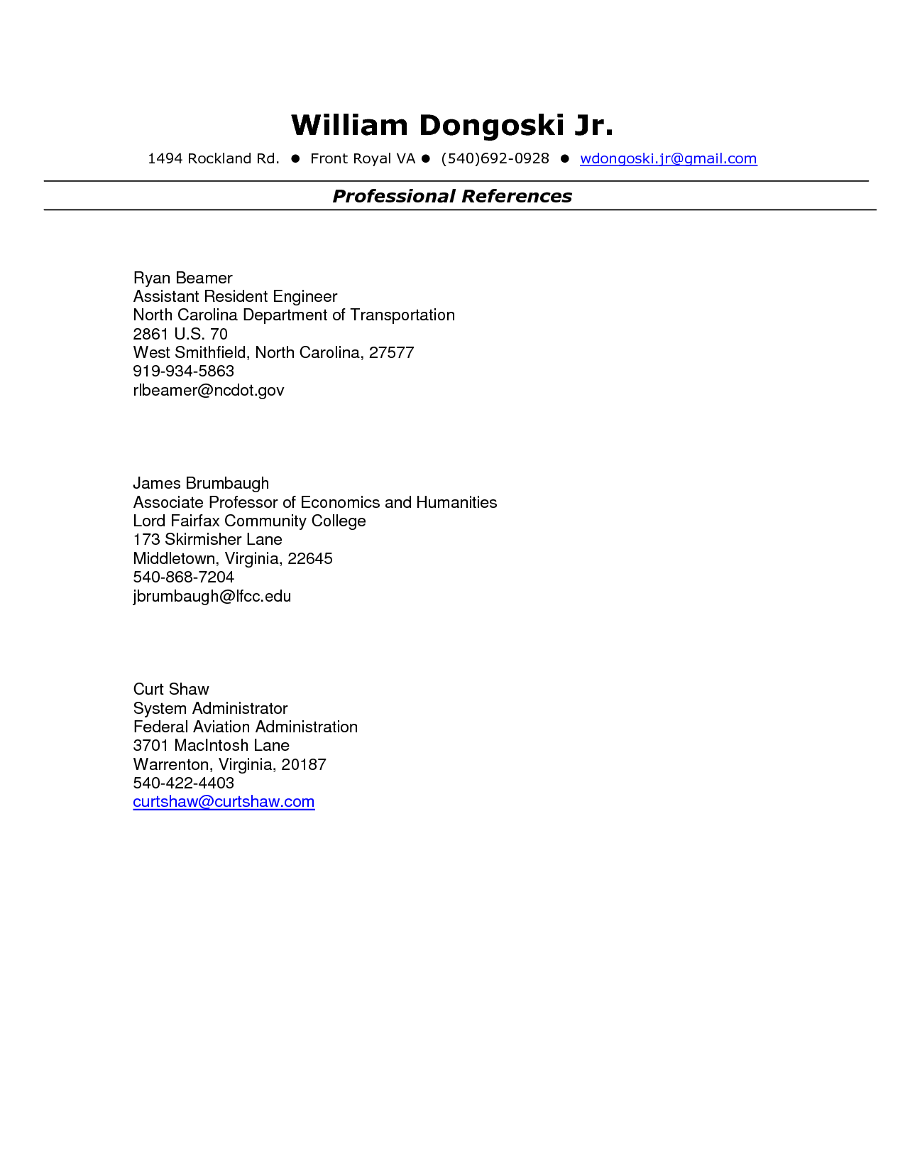 Resume Format With References References In Resume Format References On Resume Format Sample .
