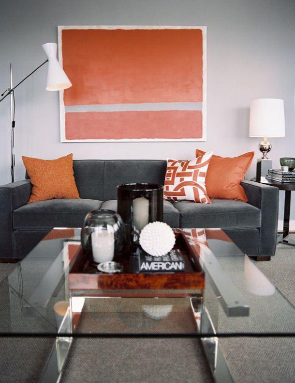 Gray And Orange Masculine Bachelor Style Living Room Design Ideas Decor