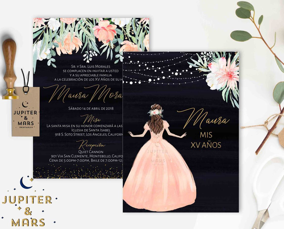 A Personal Favorite From My Etsy Shop Https Www Etsy Com Listing 584156204 Peach Peonies Quinceanera Invita Quinceanera Invitations Invitations Peach Peonies