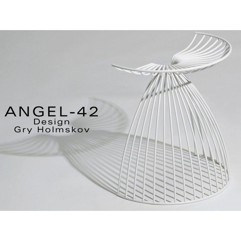 ANGEL 42 - tabouret en fil du0027acier pour extérieur, couleur blanc