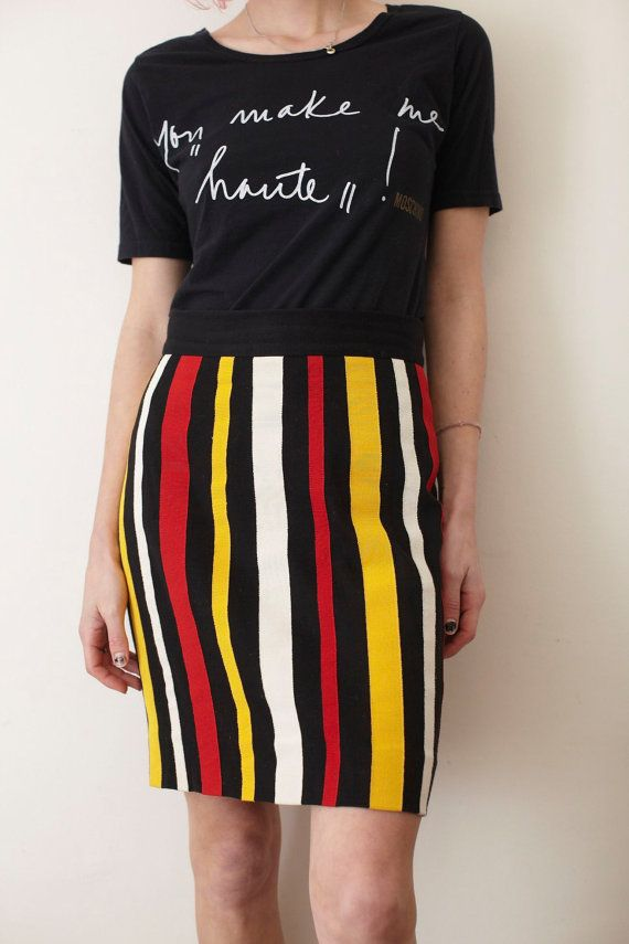 MOSCHINO cheap chic original striped mini skirt by HUNTERSBAZAAR