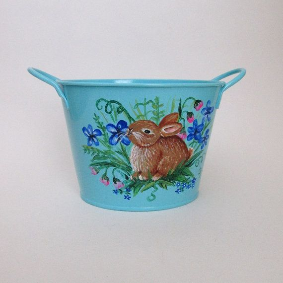 Painted Bunny Bucket - great for spring - or a baby's room with a woodland theme!