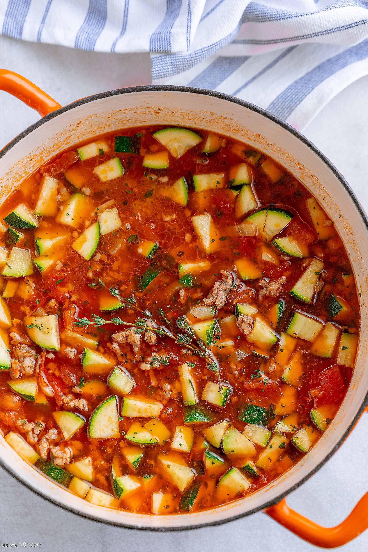 Photo of Healthy Zucchini Tomato Italian Sausage Soup