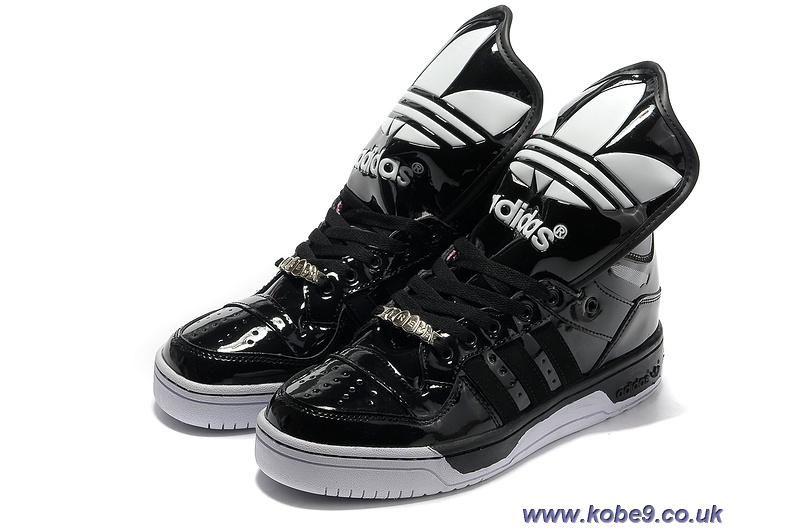 Barato Adidas x Jeremy Scott chica lengua grande zapatos negro Nike Kobe