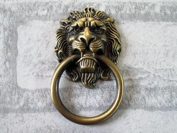 Large Lion Drawer Pull Knobs Handles Dresser Drop Pulls Rings / Antique  Bronze Lion Head Door