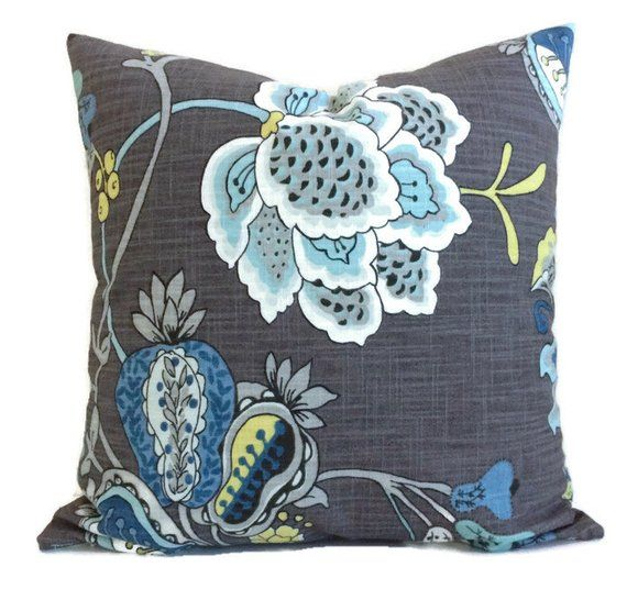 Gray Blue Jacobean French Country Decorative Throw Pillow