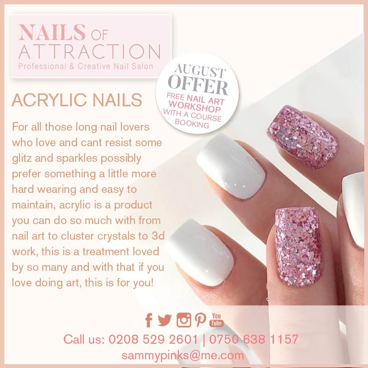 August offer! Free nail art workshop with a course booking. Acrylic ...