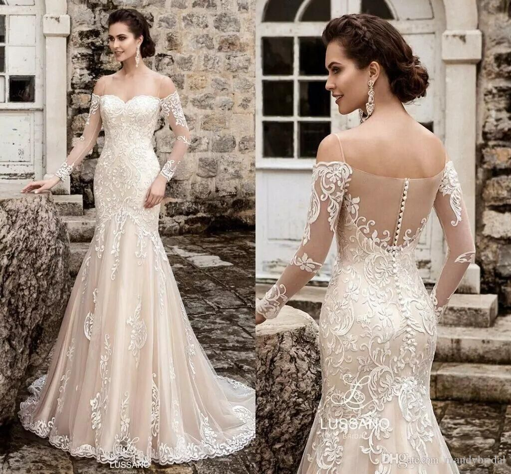 new elegant long sleeves lace wedding dresses sweetheart court
