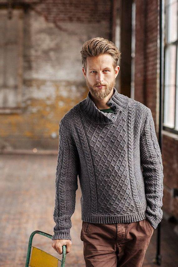 a853f0d6cf8b4 De cuello alto suéter de los hombres suéter tejido a mano los ...