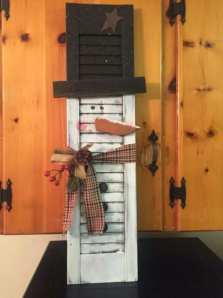 Snowman shutter crafting ideas pinterest snowman for Old wooden windows craft ideas