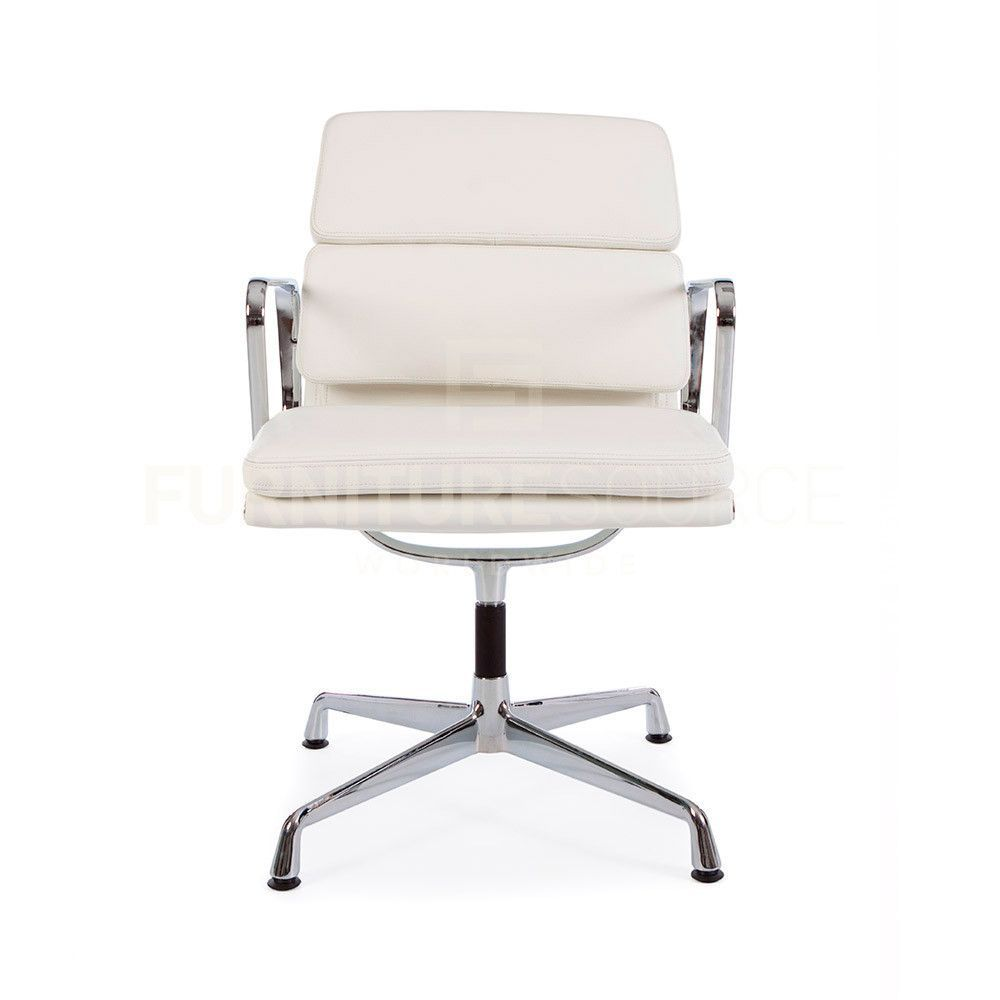 soft pad low back 2 pad office chair eames style white leather