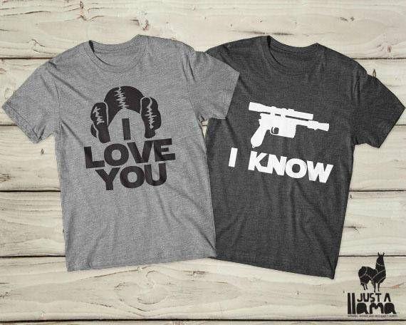 7f867d21f Star wars couple shirts, Star wars couple gift, Star wars couple tee,  Valentines day, Star wars Valentine, Han solo shirt, Leia shirt