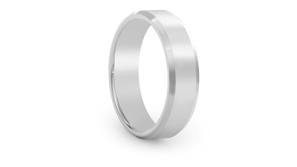Bevel edge plain wedding ring. Fusing bespoke design with ...