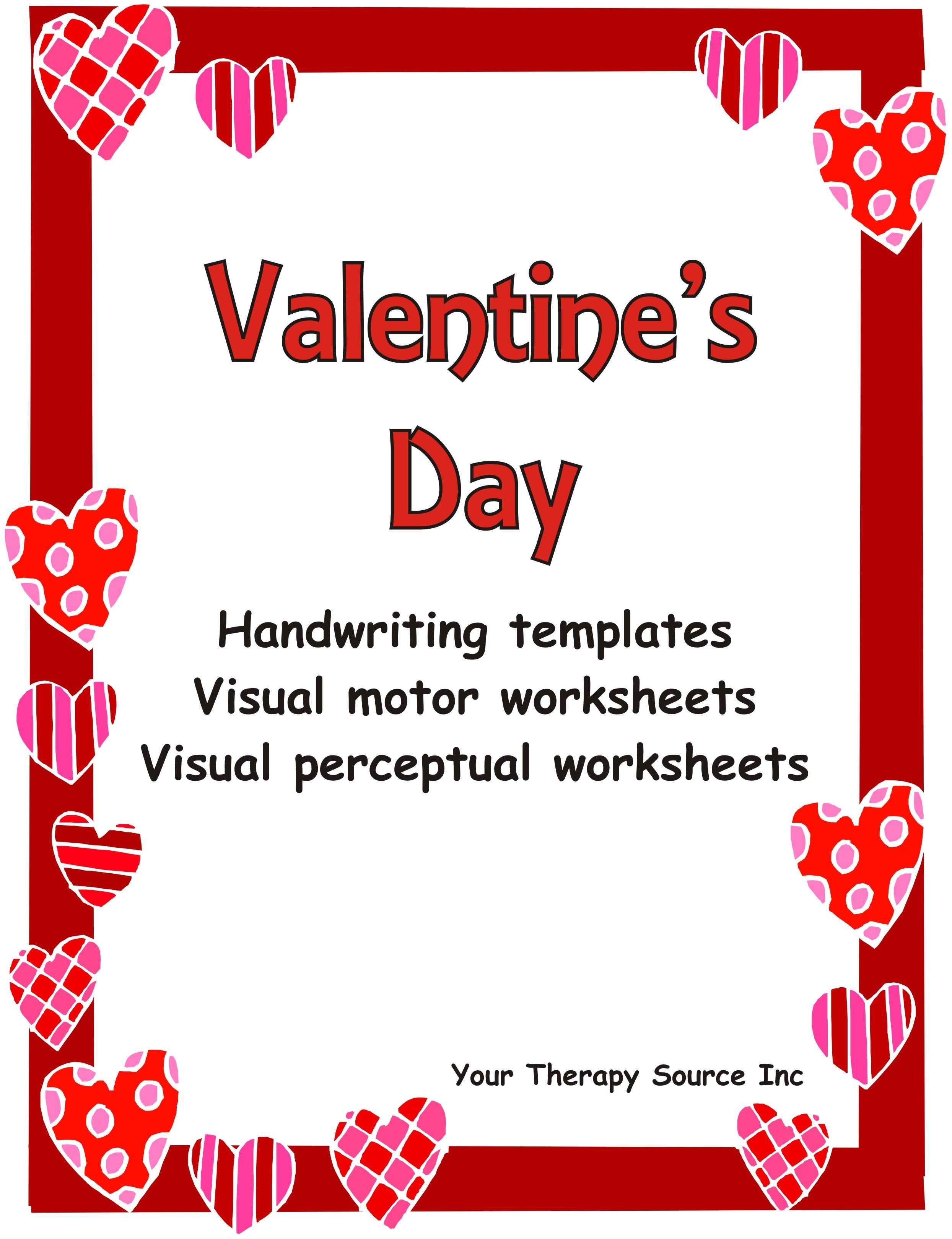 Valentine Handwriting Activities