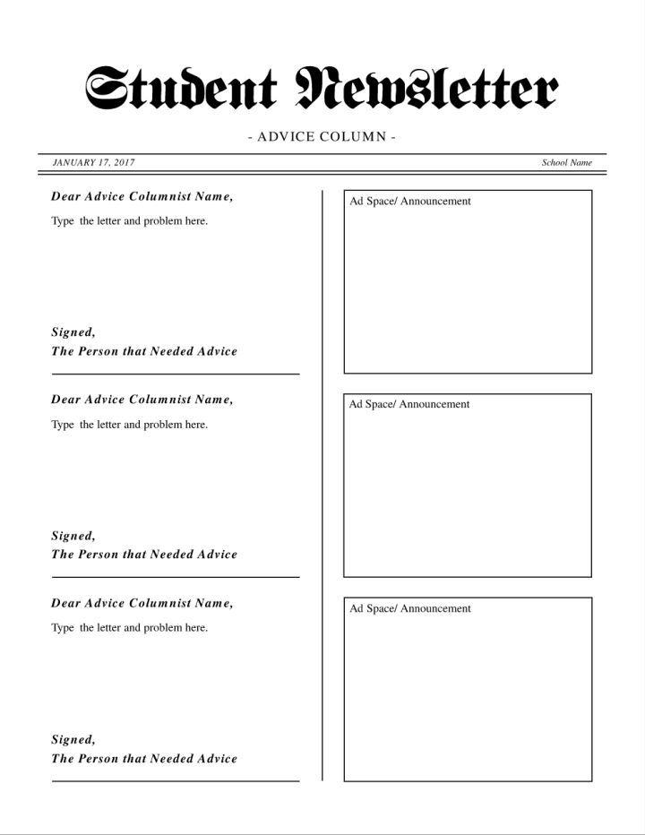 Student newsletter with advice column template | Teacher's ...