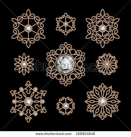 Elegant gold jewelry decoration on black, vector set of diamond vignettes - stock vector