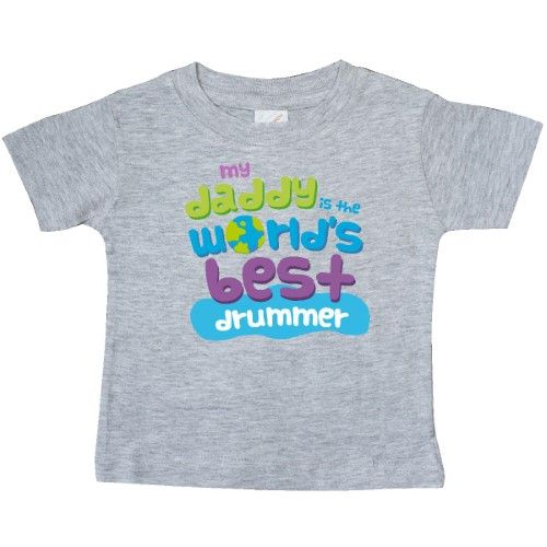 Inktastic World's Best Drummer Daddy Baby T-Shirt Child's Kids Gift Drummer's Son Childs Like My Cute Occupation Apparel Is Occupations T-shirt Infant Tees Shower Clothing Hws, Boy's, Size: 24 Months, Grey