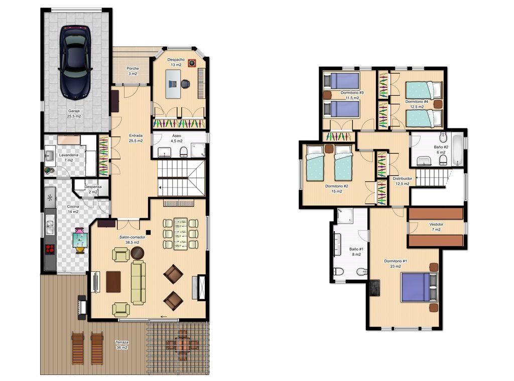 Plano de casa de dos plantas con separaci n de ambientes for Planos arquitectonicos de casas de dos plantas