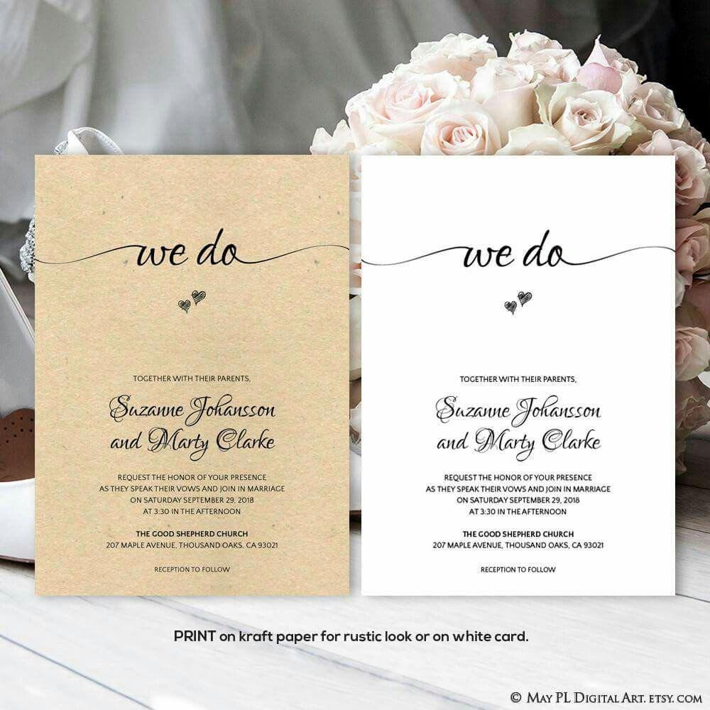 Cute \'We Do\' wedding invitation - print on kraft paper for rustic ...
