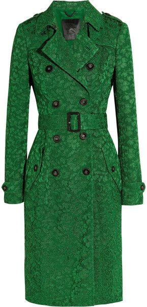 Burberry Prorsum Green Lace Trench Coat | Fashion, Green