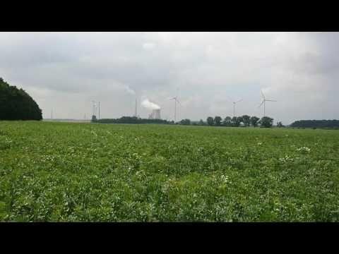Kohlekraftwerk Mehrum mit Windrädern am 11.7.2017 Video 2