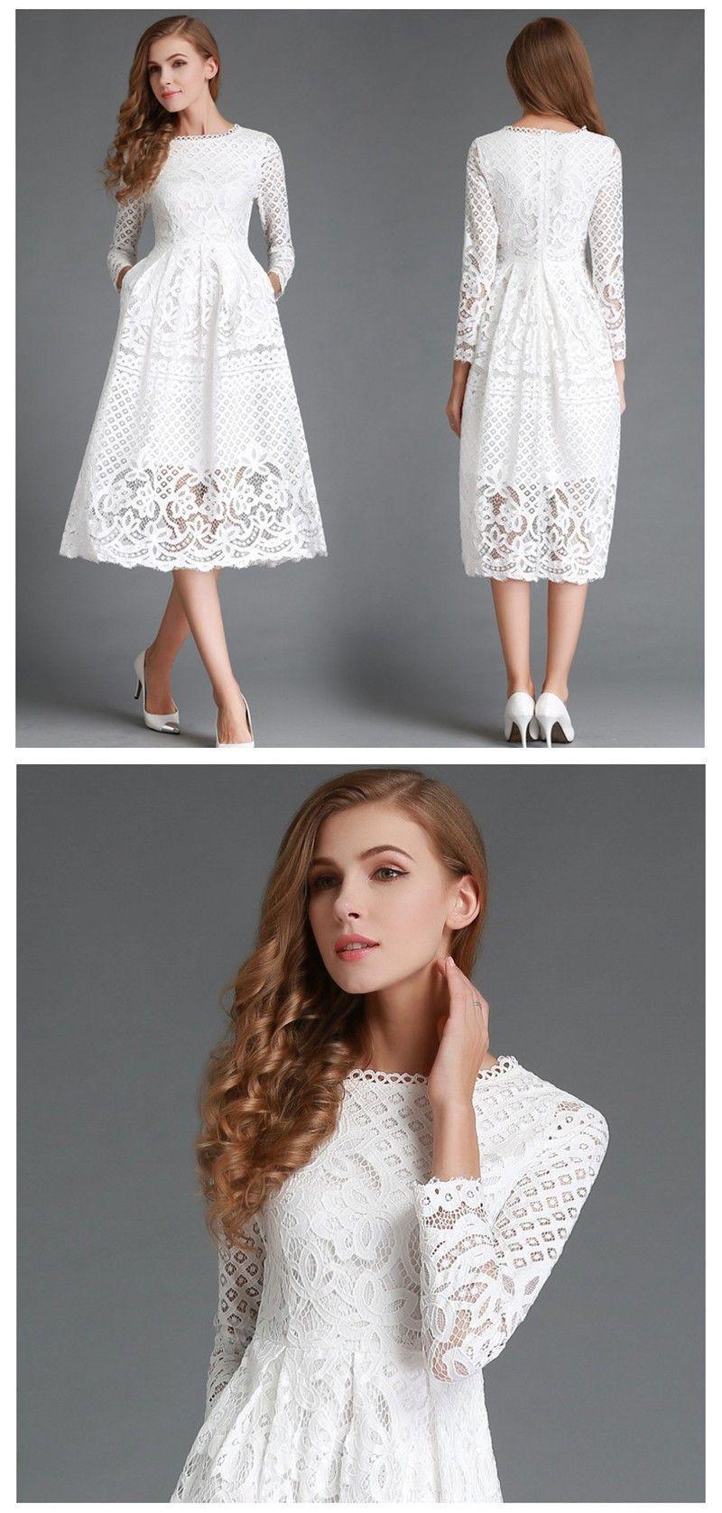 Waistline empire decoration hollow out material lace dresses