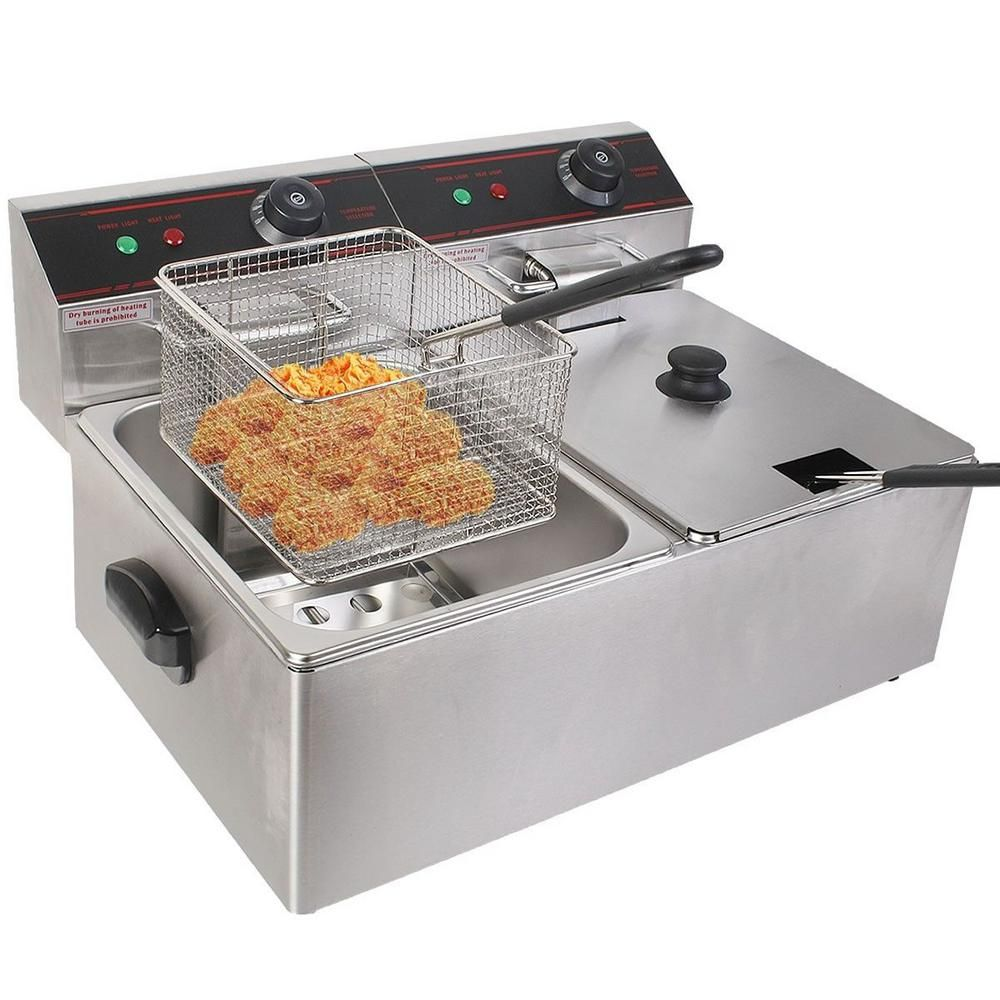 5000 Watt Electric Countertop Deep Fryer Dual Tank Commercial