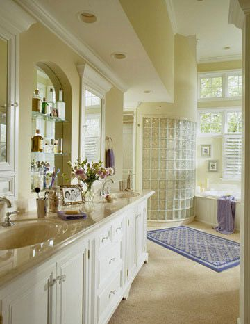 Recessed Lights Installed In The Deep Soffit Over The Double Vanity  Illuminate The Countertops And Mirrors. Additional Lights In The Lofty  Ceiling Over The ...