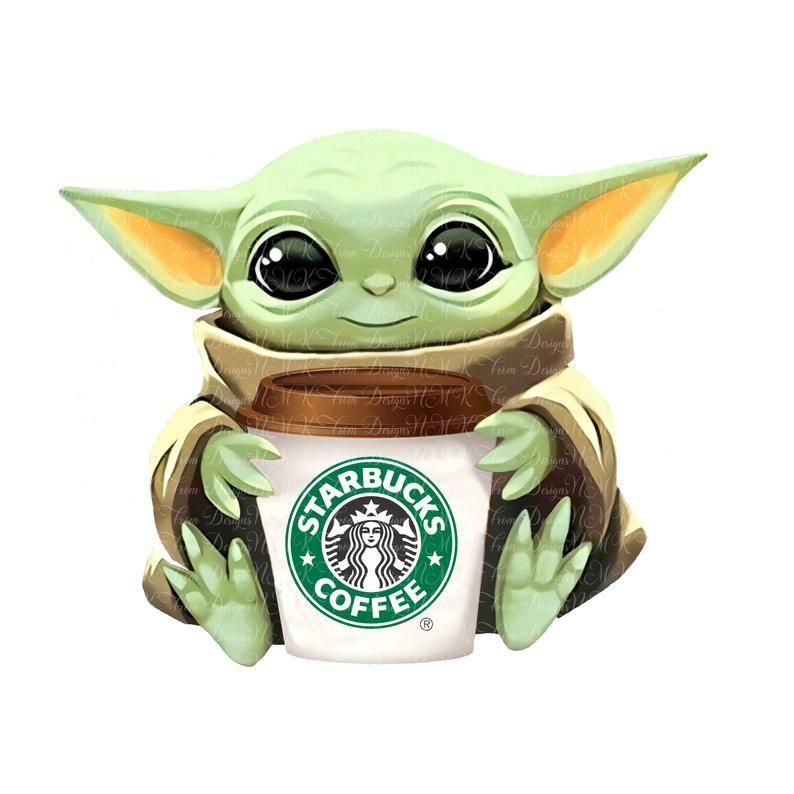 Baby Yoda Starbucks Coffee Sublimation Designs Png Format Etsy Star Wars Art Starbucks Coffee Cup Yoda