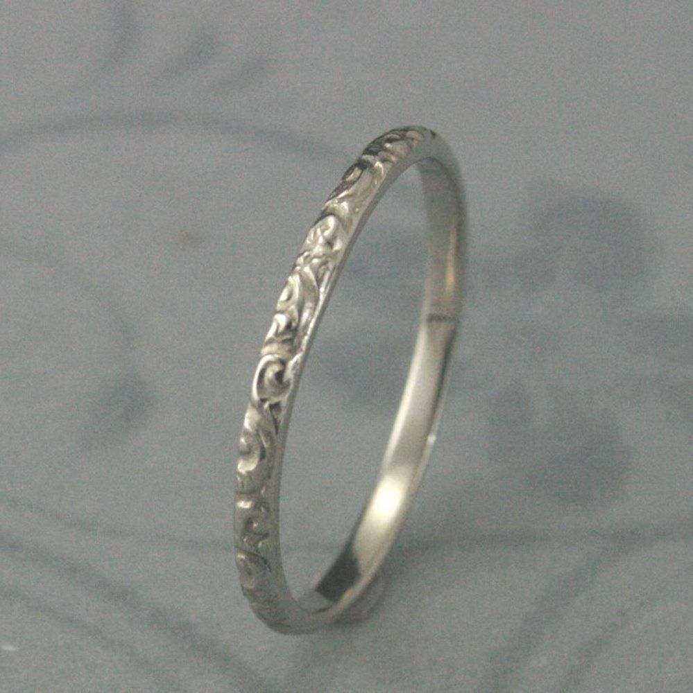 Solid 14k White Gold Rococo In The Disco Wedding Band Swirl Patterned