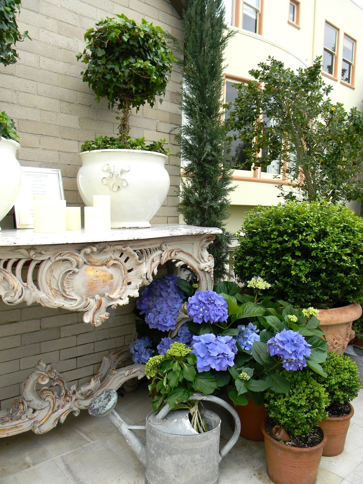 Katiedid Curiouser And Curiouser The San Francisco: Ivy Topiary On A Beautiful Table And Potted Hydrangeas