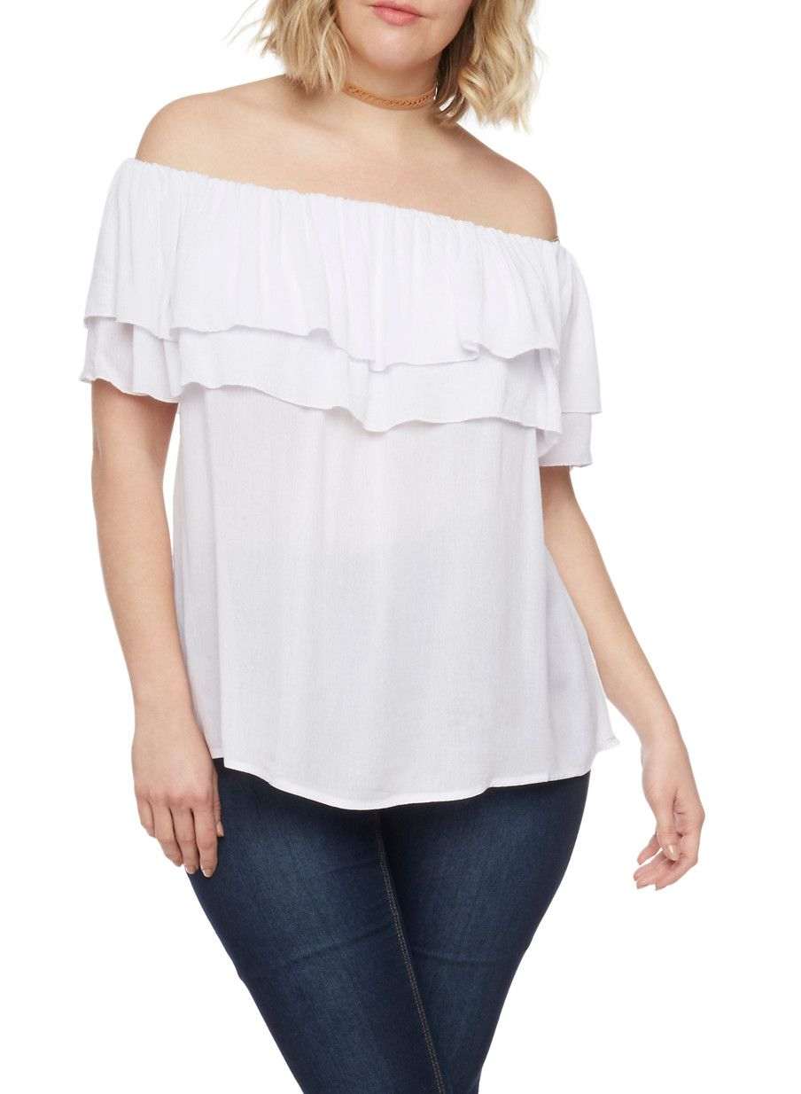 Plus Size Double Ruffle Off the Shoulder Top,WHITE,large