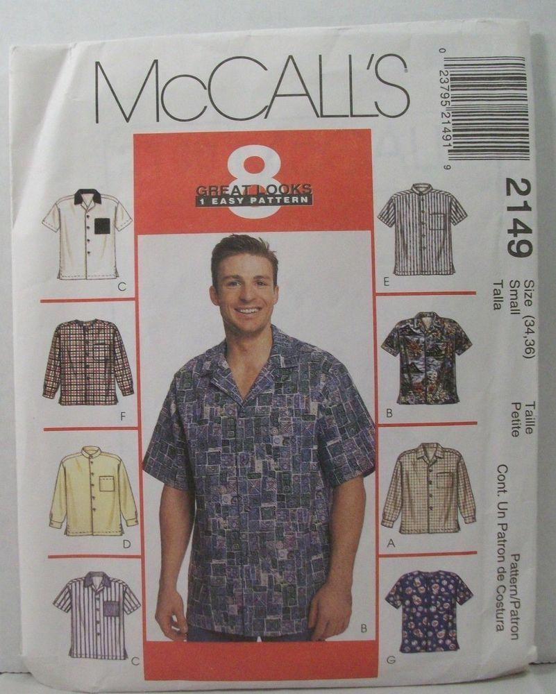 McCalls Sewing Pattern 2149 Mens Shirts Size 38-40 Uncut