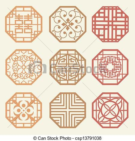 Korean old of Window Frame Symbol sets. Korean traditional Pattern is a Pattern Design. - csp13791038