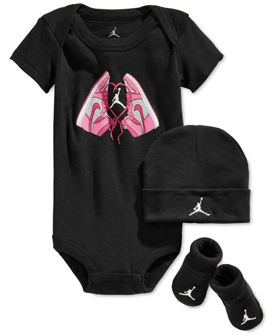 Nike Baby Girls Jordan 3 Piece Bodysuit Hat Amp Bootie Set