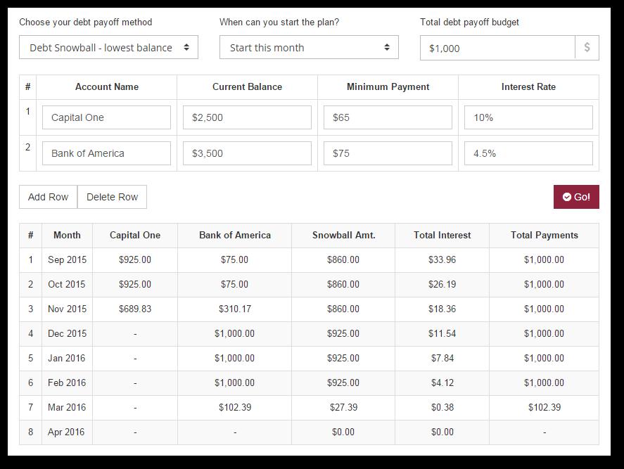 debt snowball calculator free