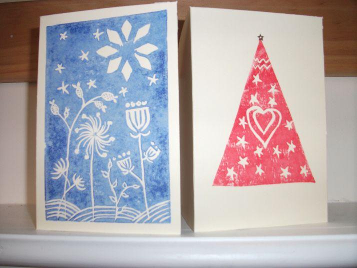 lino print christmas cards  print christmas card linocut