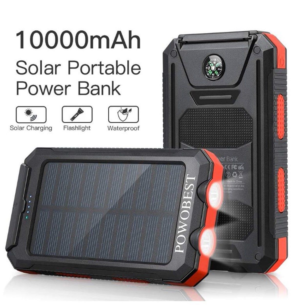 Solar Charger 10000mAh, POWOBEST Dual US