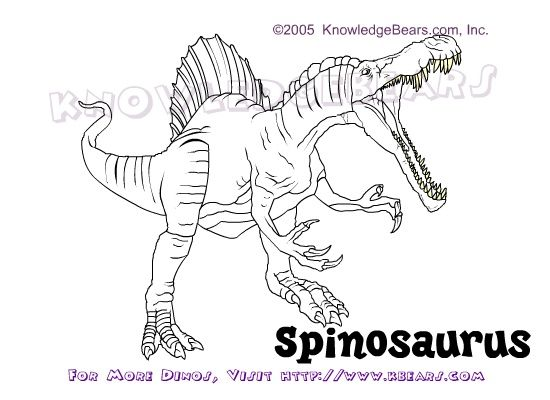Spinosaurus Dinosaurs Information And Coloring Pages By Kbears Com Spinosaurus Coloring Pages Coloring Pages To Print