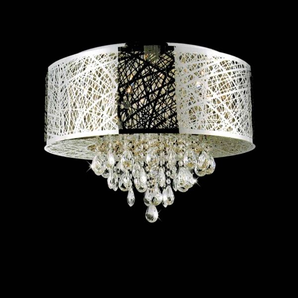 Picture Of 22 Web Modern Laser Cut Drum Shade Crystal Round Flush Mount Chandelier Stainless Steel 9 Lights