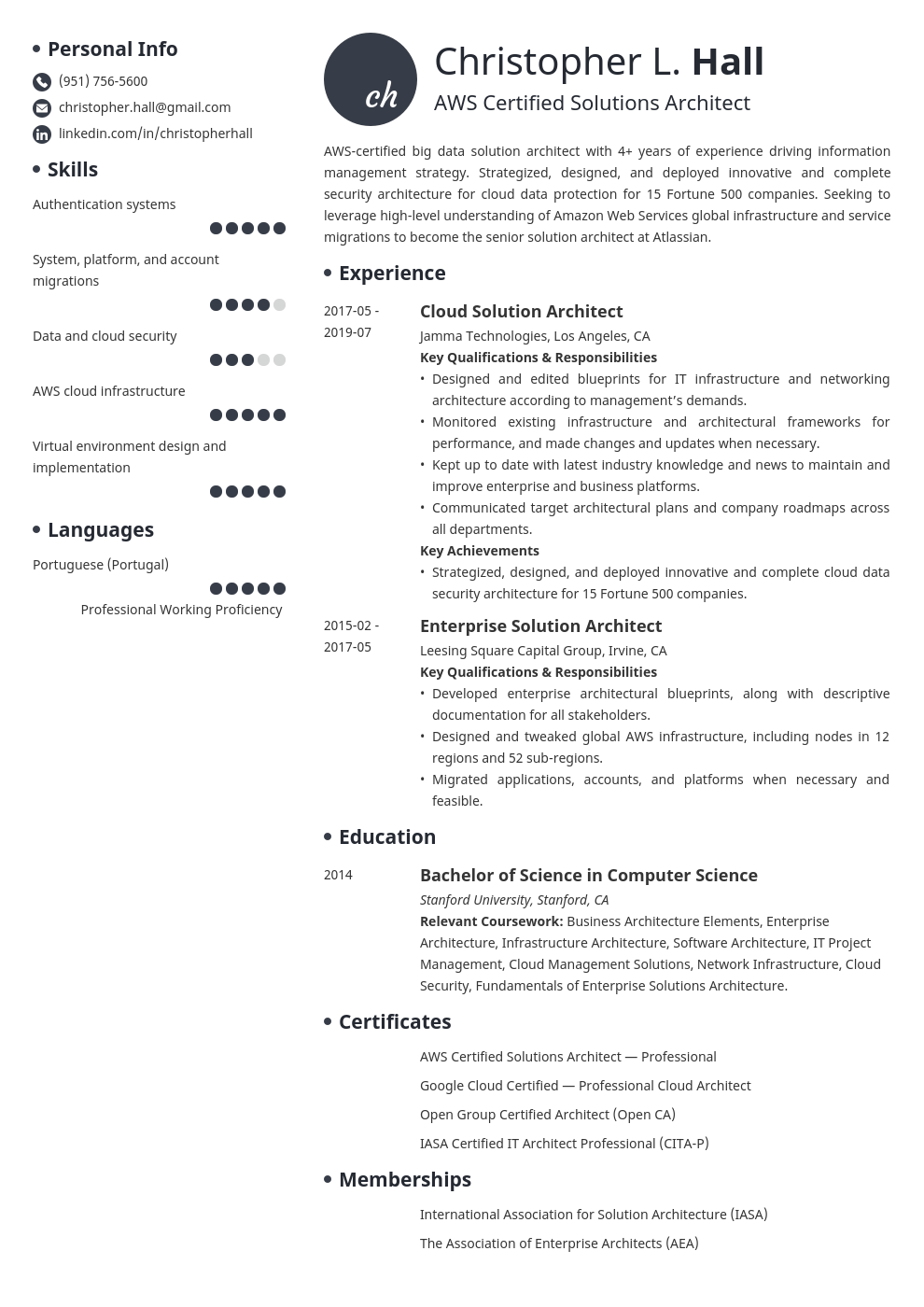 Solution Architect Resume Example Template Initials Architect Resume Solution Architect Architect Resume Sample