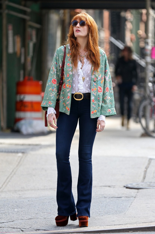 Florence Welch steps out in flares and crushed velvet on