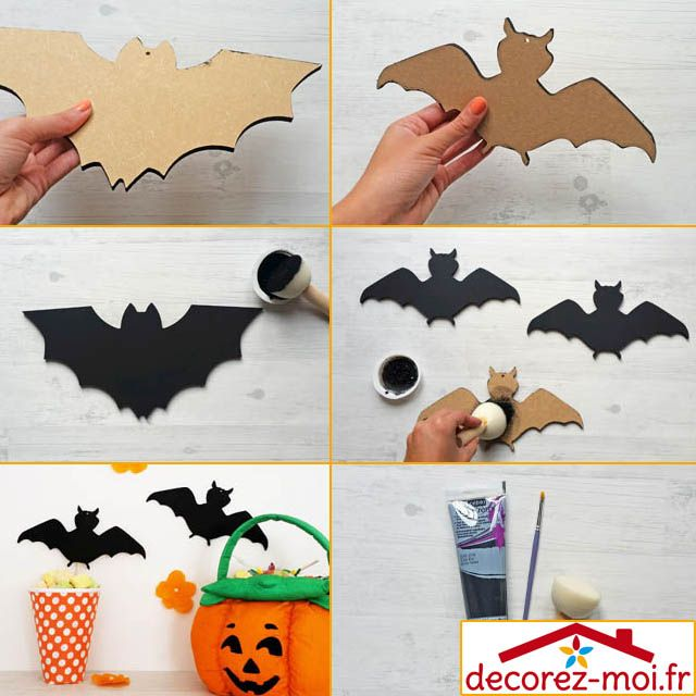 tuto d co diy et r cup pour halloween d co mur de chauve souris en bois peins en noir panier. Black Bedroom Furniture Sets. Home Design Ideas